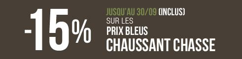 -15% sur les prix bleus CHAUSSANT Chasse (jusqu'au 30/09) - Code : CHTAQ
