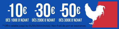 Jusqu'au 1er mai (inclus) : 10€ dès 100€ / 30€ dès 200€ / 50€ dès 300€ d'achats prix bleus & rouges code: FRENCHDAYS19