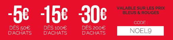 CODE PROMO 🎅🏼 -5€ dès 50€ d'achats / -15€ dès 100€ d'achats / -30€ dès 200€ (hors prix noirs) jusqu'au 16/12/19 avec le code NOEL9