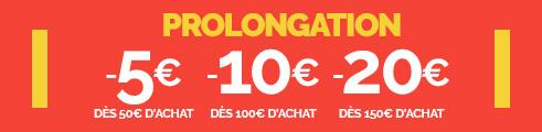 -5€ dès 50€, -10€ dès 100€, -20€ dès 150€ (prix bleus & rouges), jusqu'au 17/02, code : TRUTS2