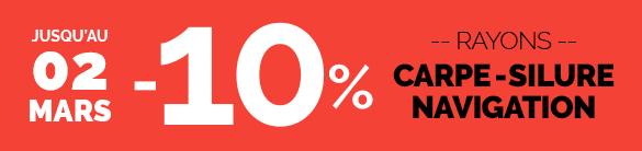 -10% Rayons Carpe, Silure & Navigation, valable sur les prix bleus et rouges, avec le code FINFEV10, jusqu'au 02/03.