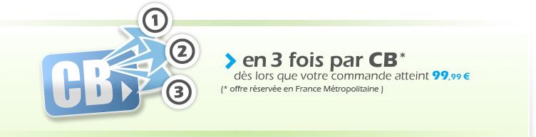 Vous pouvez régler vos achats en 3 fois sans frais par chèque * dès que votre commande atteint 100€ (* compte bancaire domicilié sur une banque française)